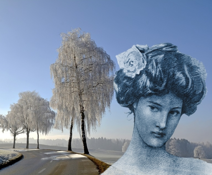 woman head in icy landscape